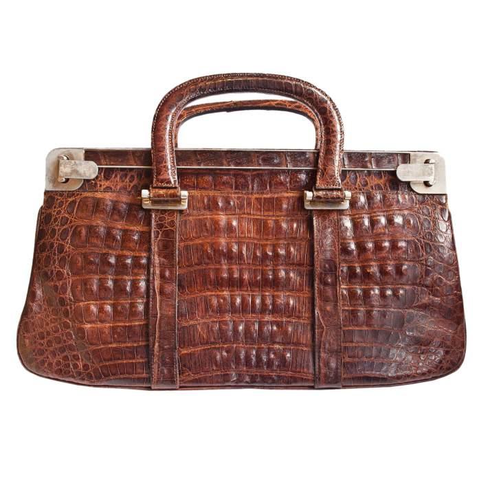 50s Crocodile Skin Brown Clutch – Nariva Boutique